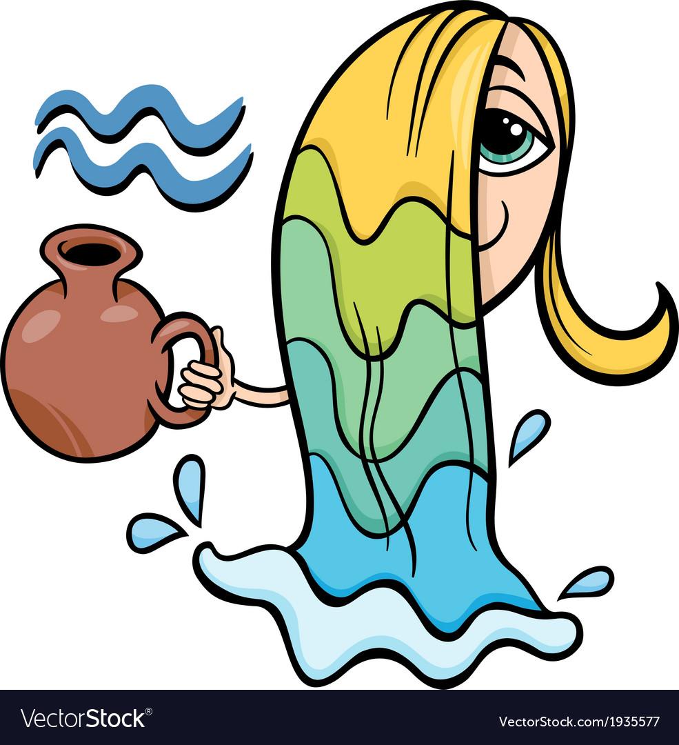 Aquarius zodiac sign cartoon vector image