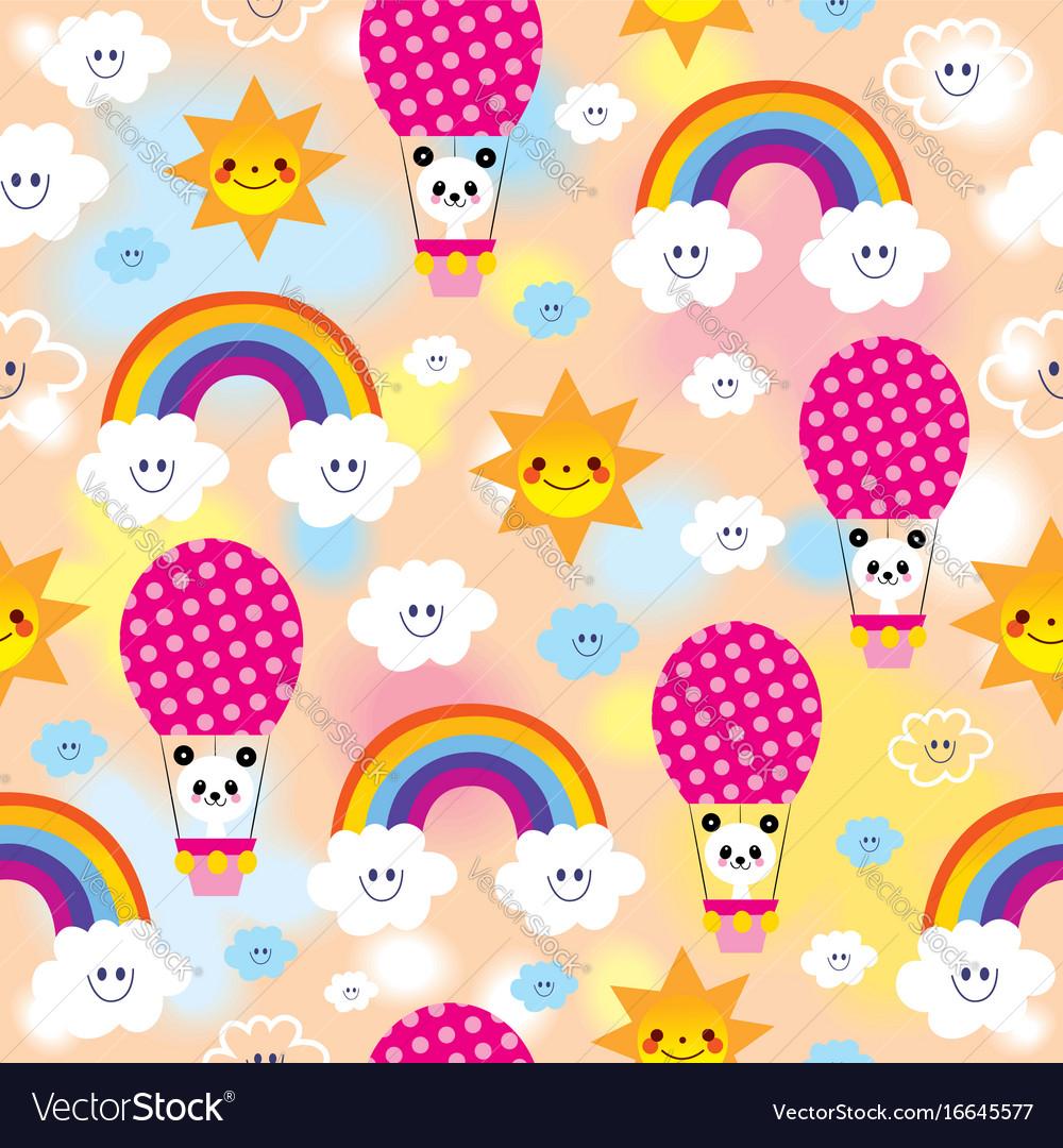 Cute baby panda bears pattern vector image