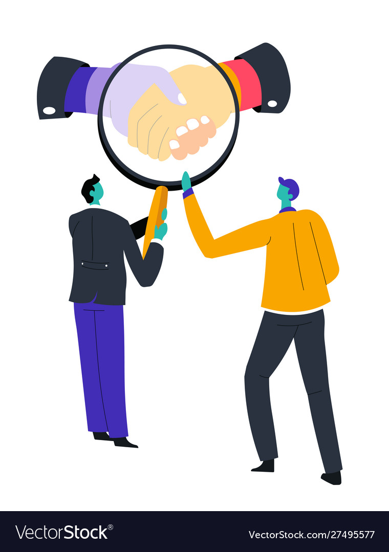 Dealing symbol men and magnifying glass business