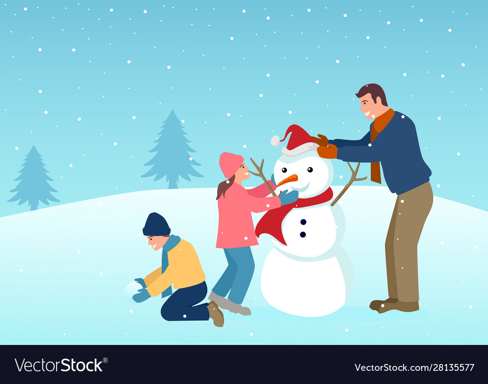 Father playing with his children on winter time