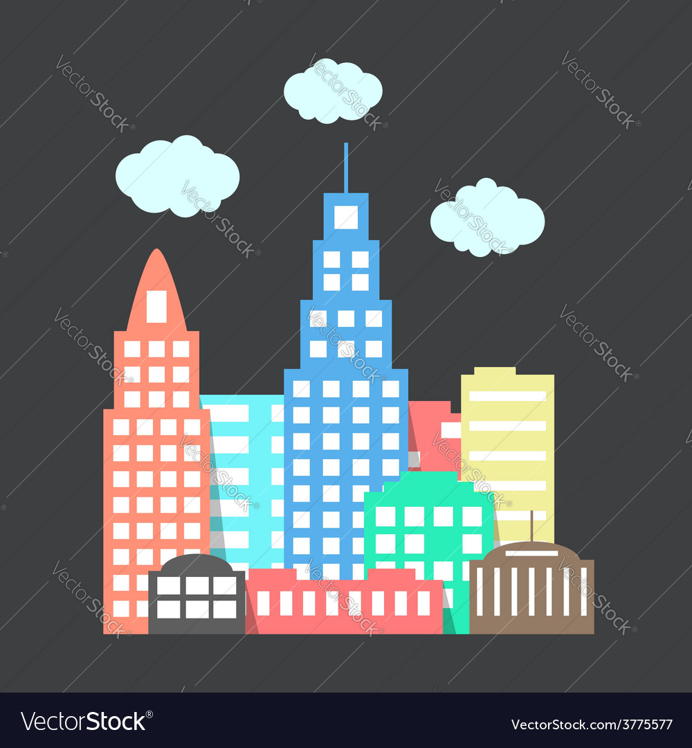 Flat style city with clouds on dark background