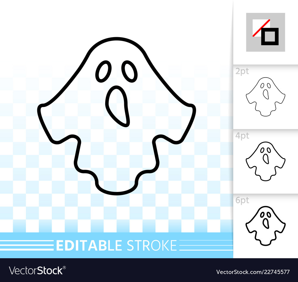 Halloween ghost simple black line icon