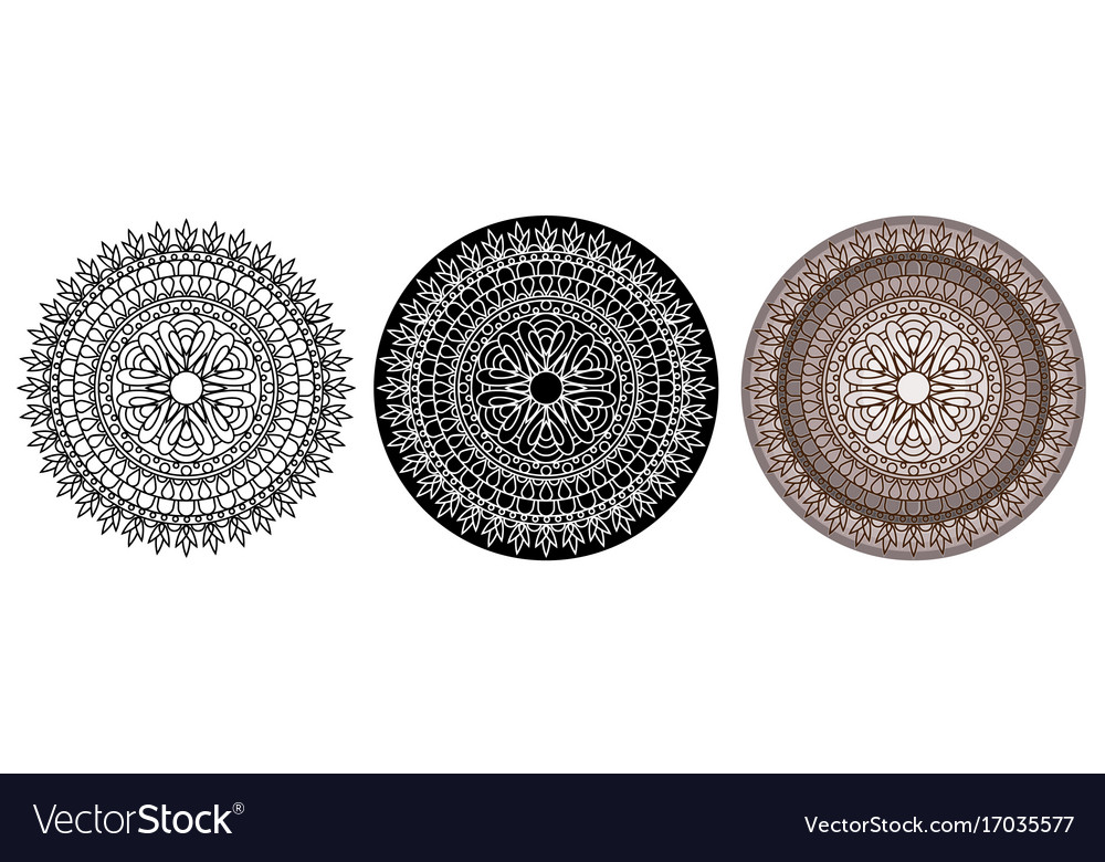Mandala for coloring book and your design round