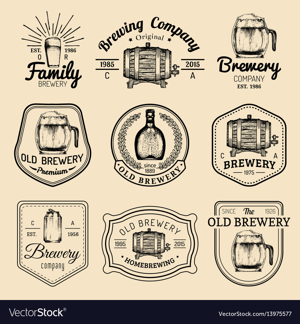Old brewery logos set kraft beer retro signs or