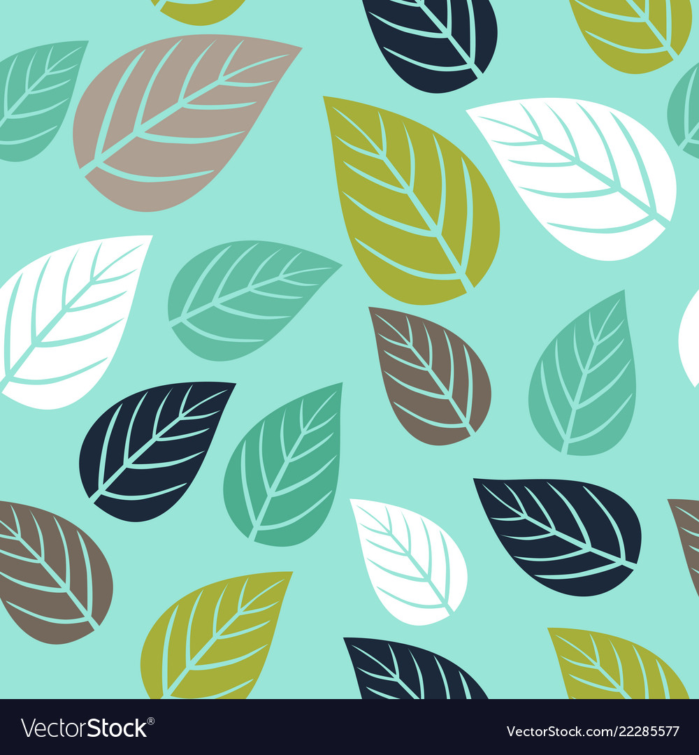 Seamless Pattern With Simple Leaf Botanical