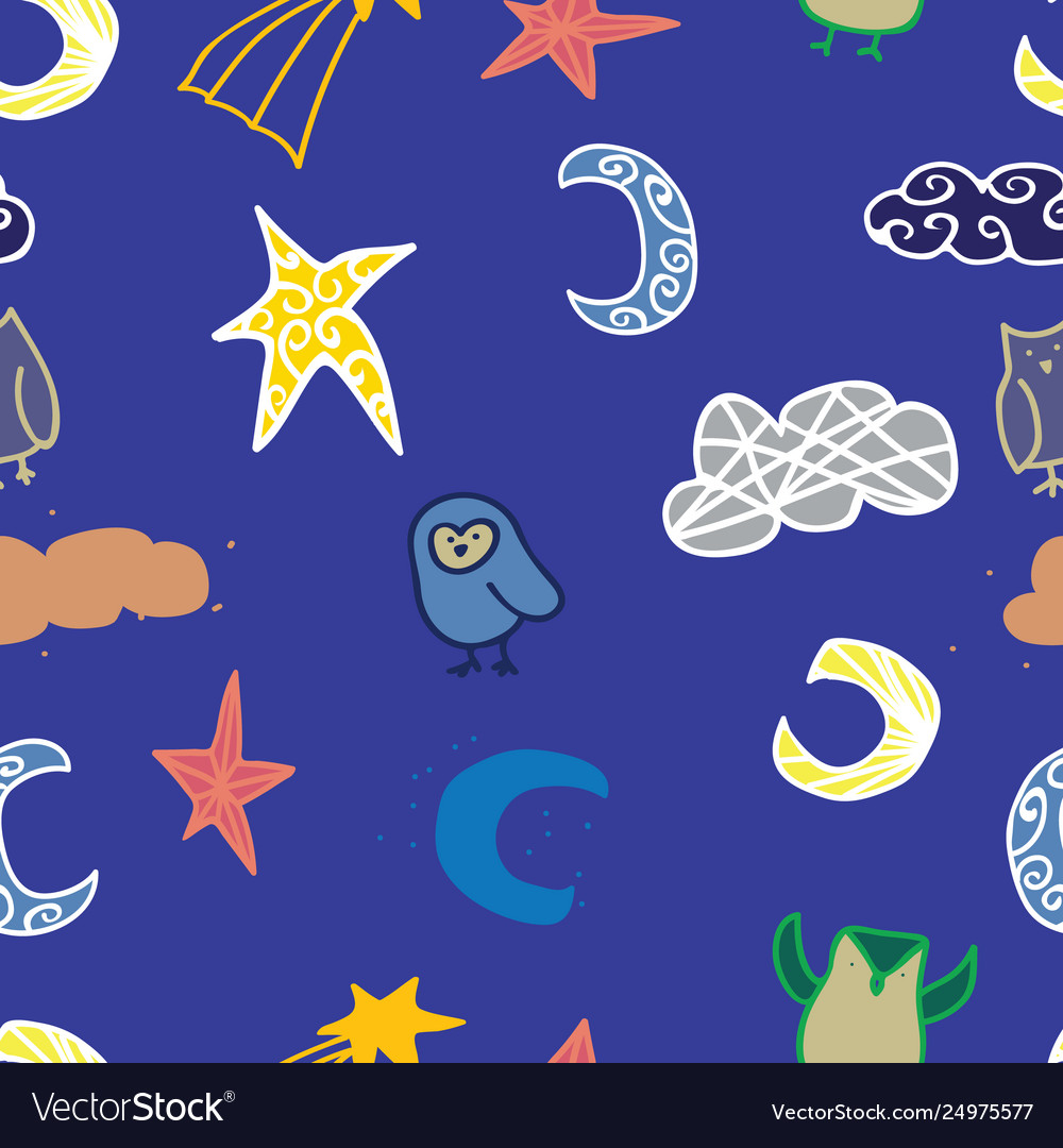 Sky owl cloud star seamless repeat pattern design