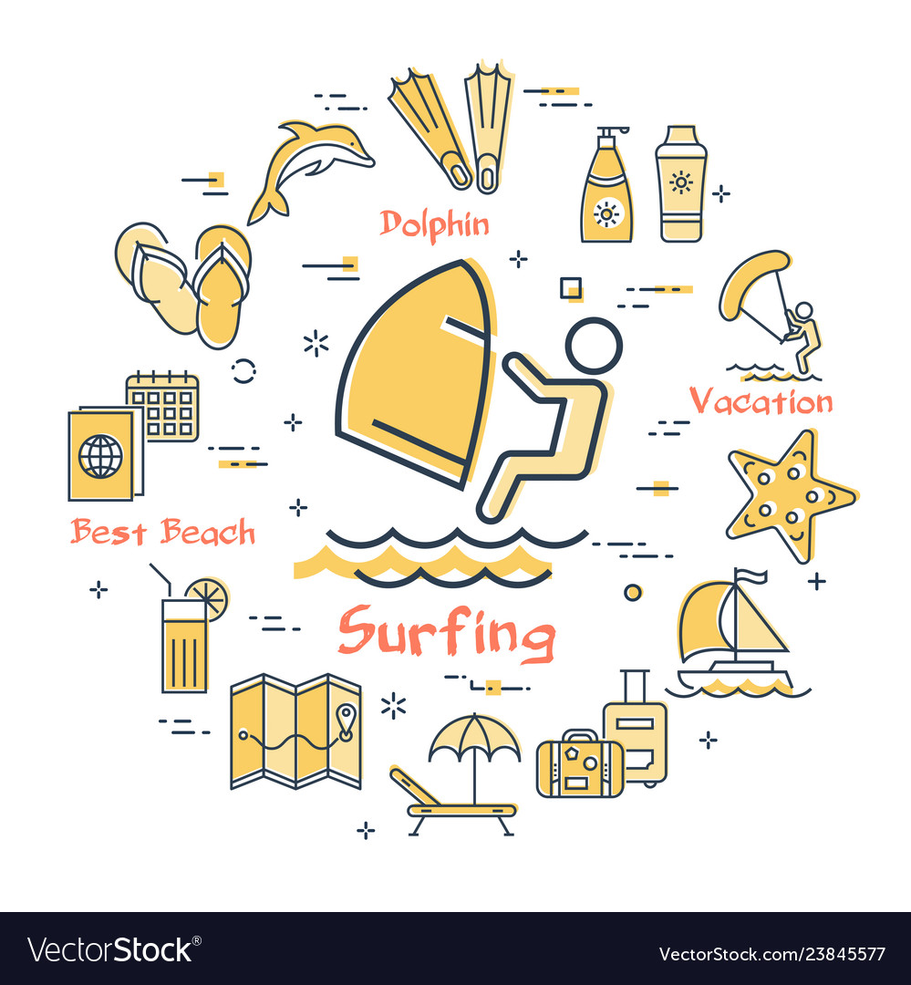 Surfing and summer time vacation icons