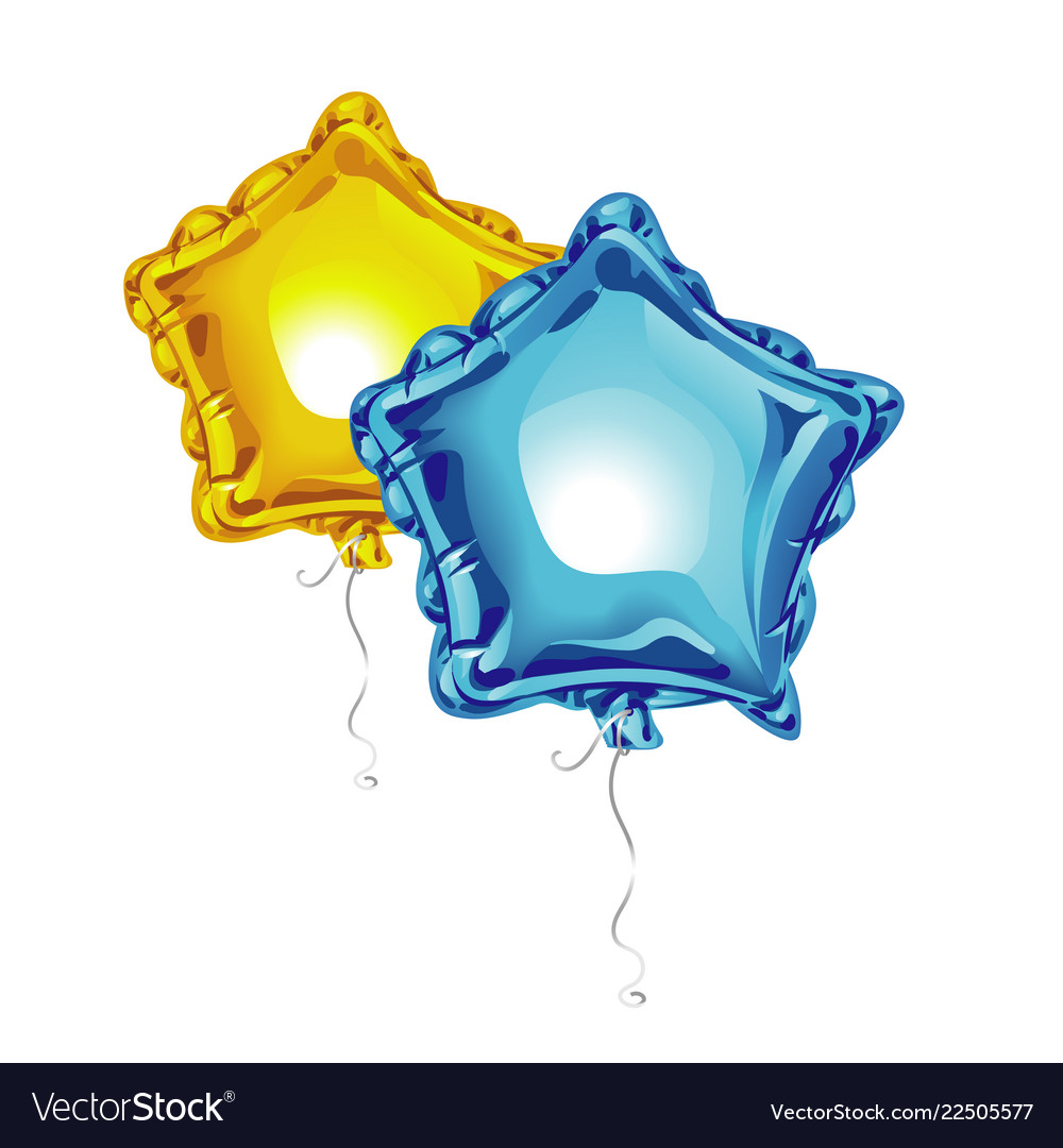 Two realistic 3d foil balloons in the shape of a