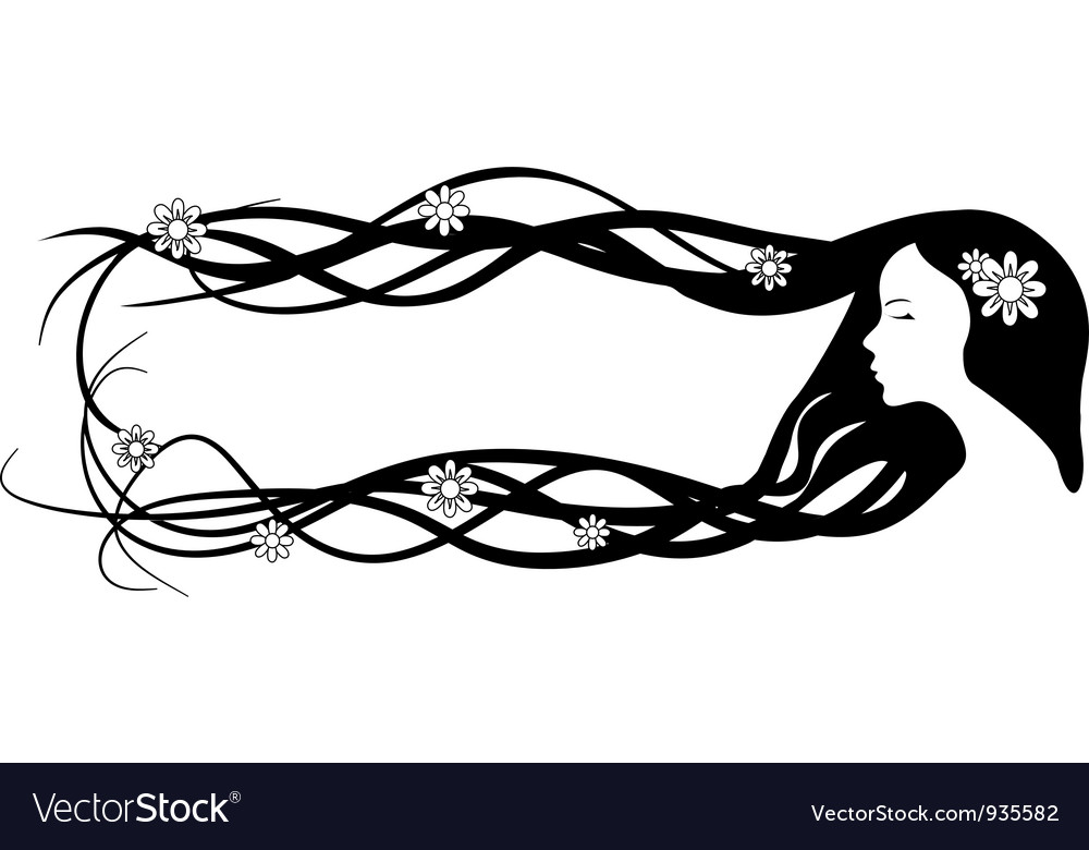 Banner of beautiful woman with very long hair