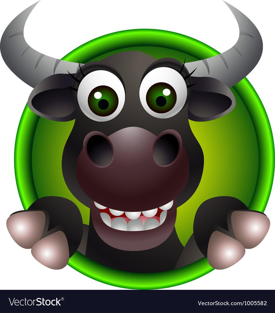 Cute buffalo head cartoon