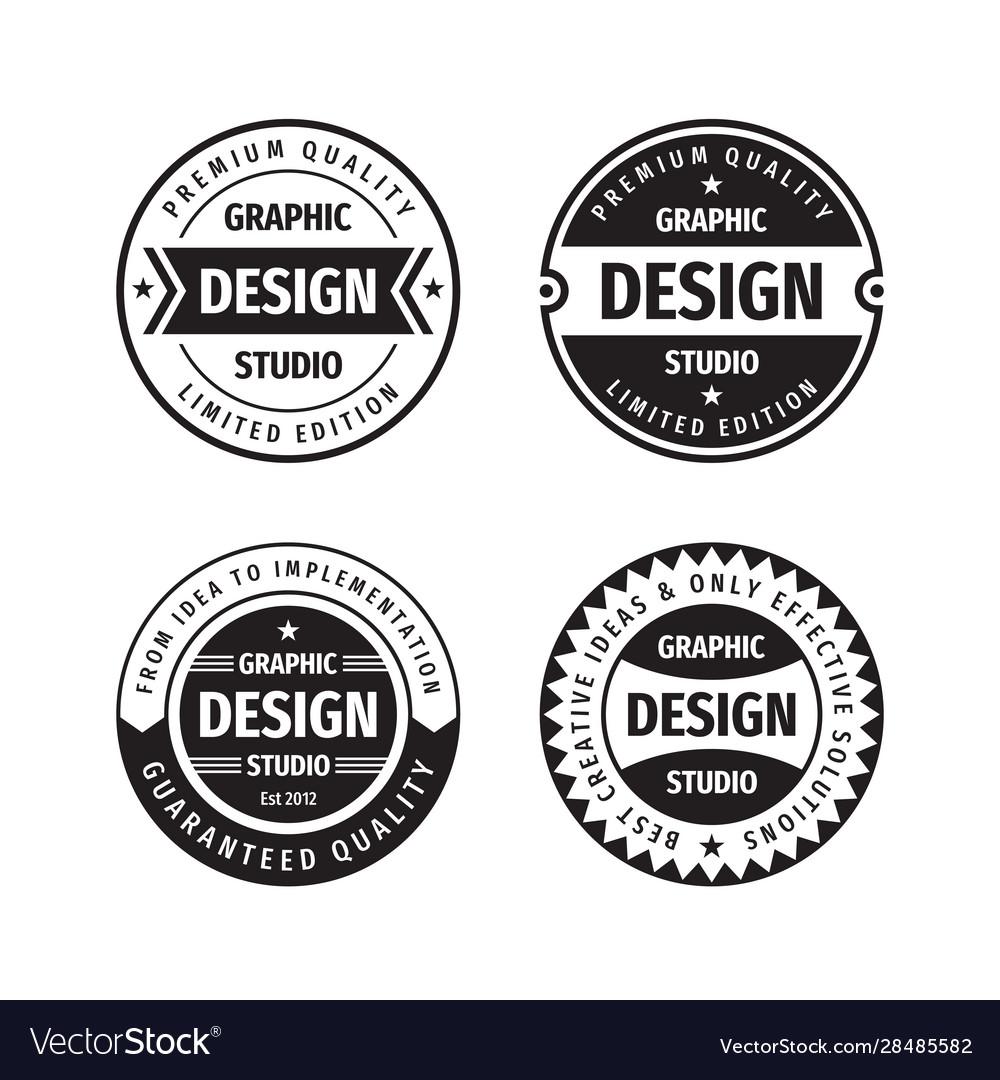 Design graphic badge logo set in retro
