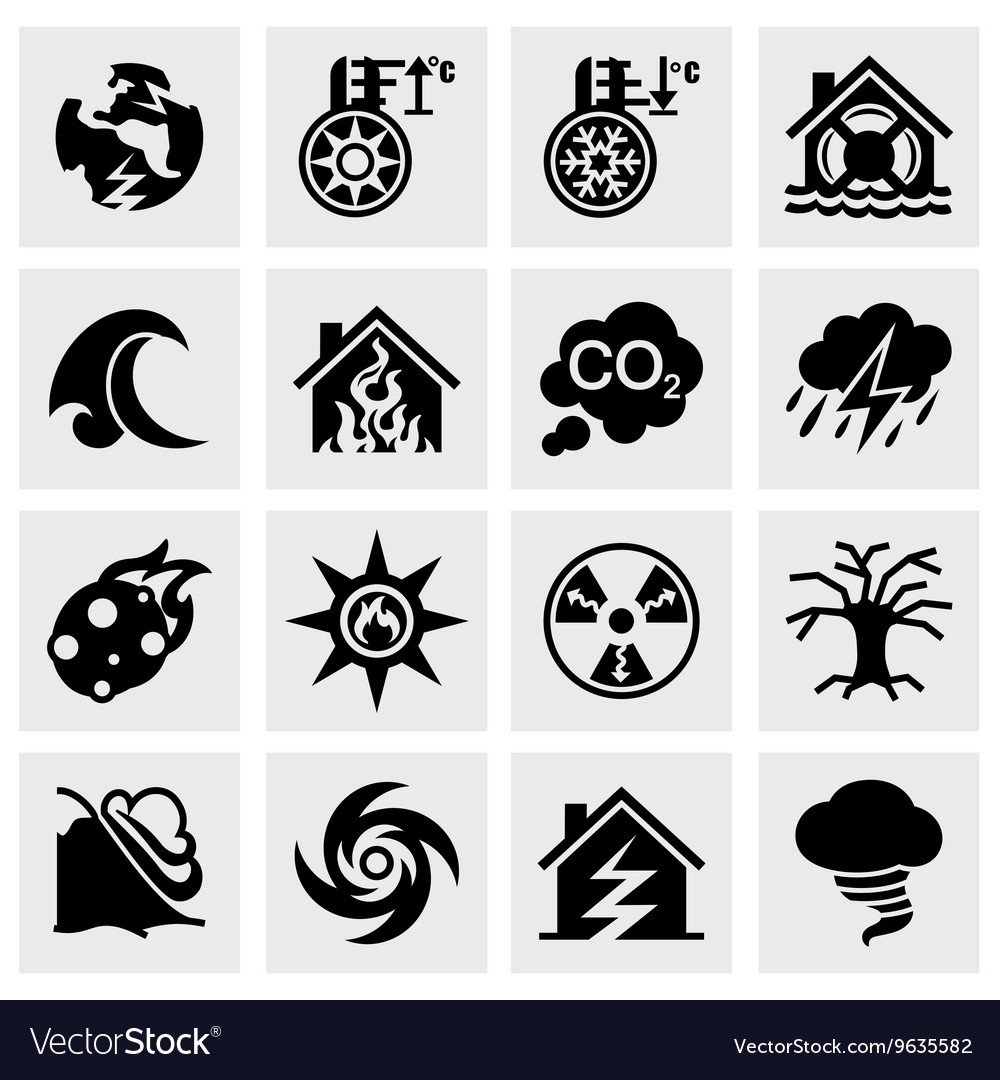 Disaster icon set