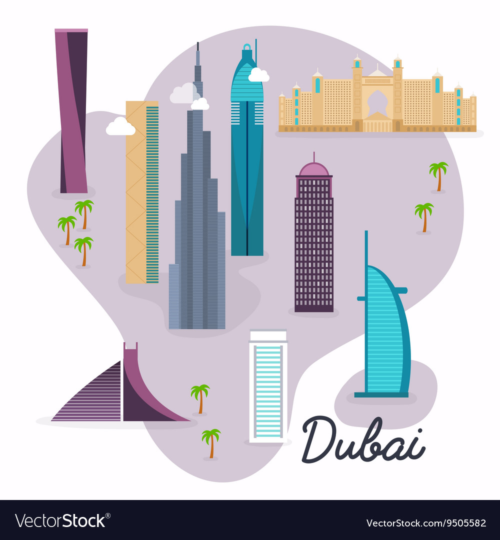 Dubai travel map and landscape buildings and