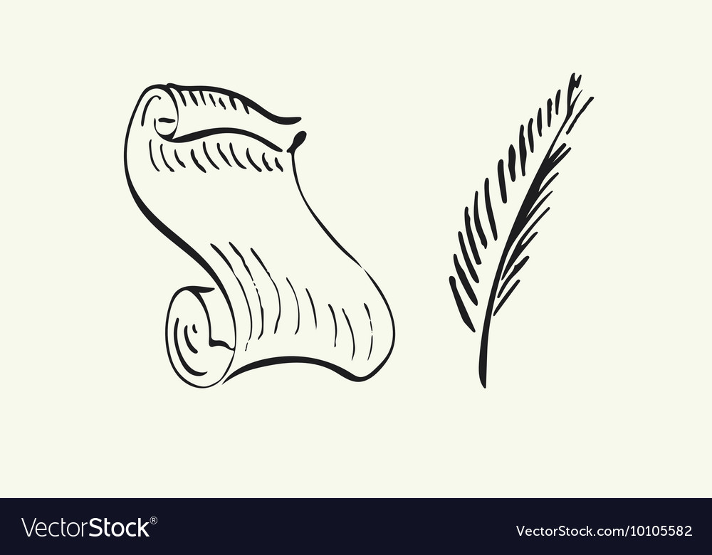 Hand drawn paper scroll