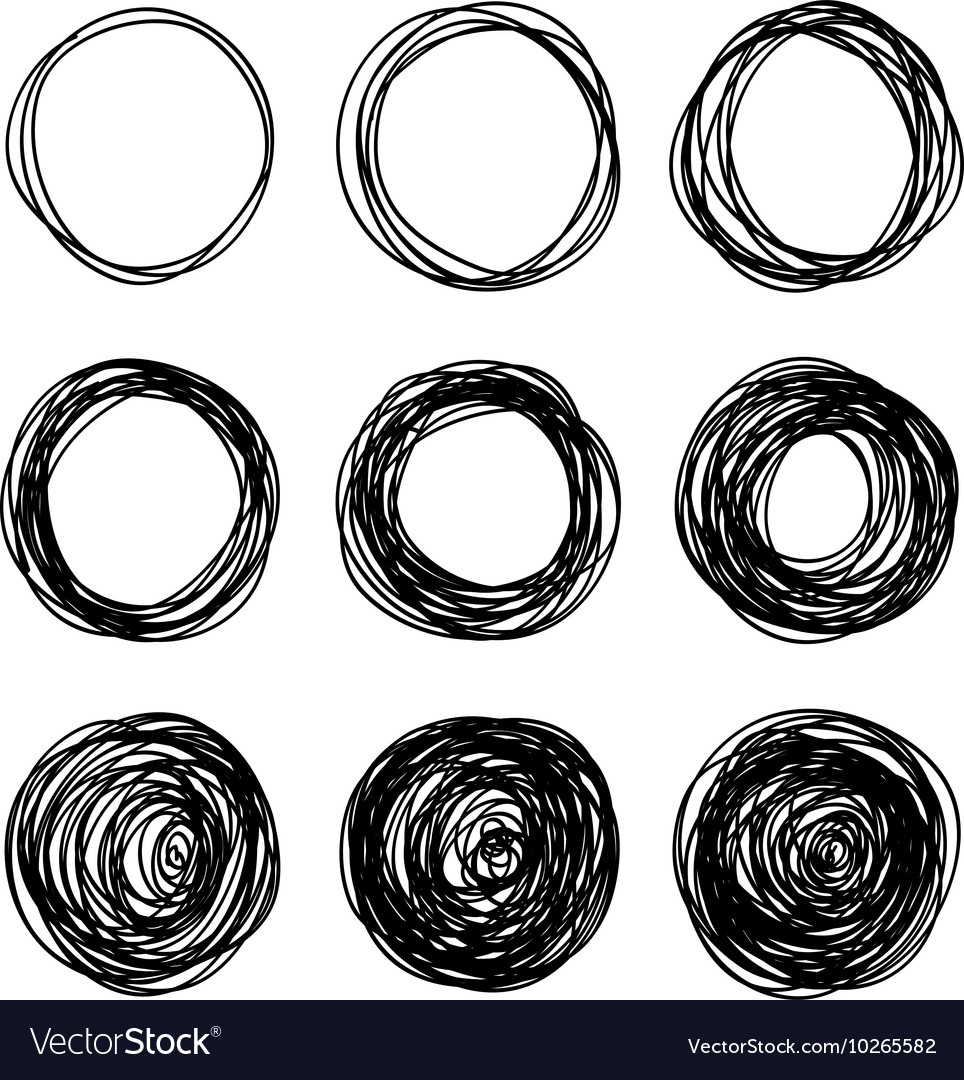 Hand-drawn scribble circles abstract doodle