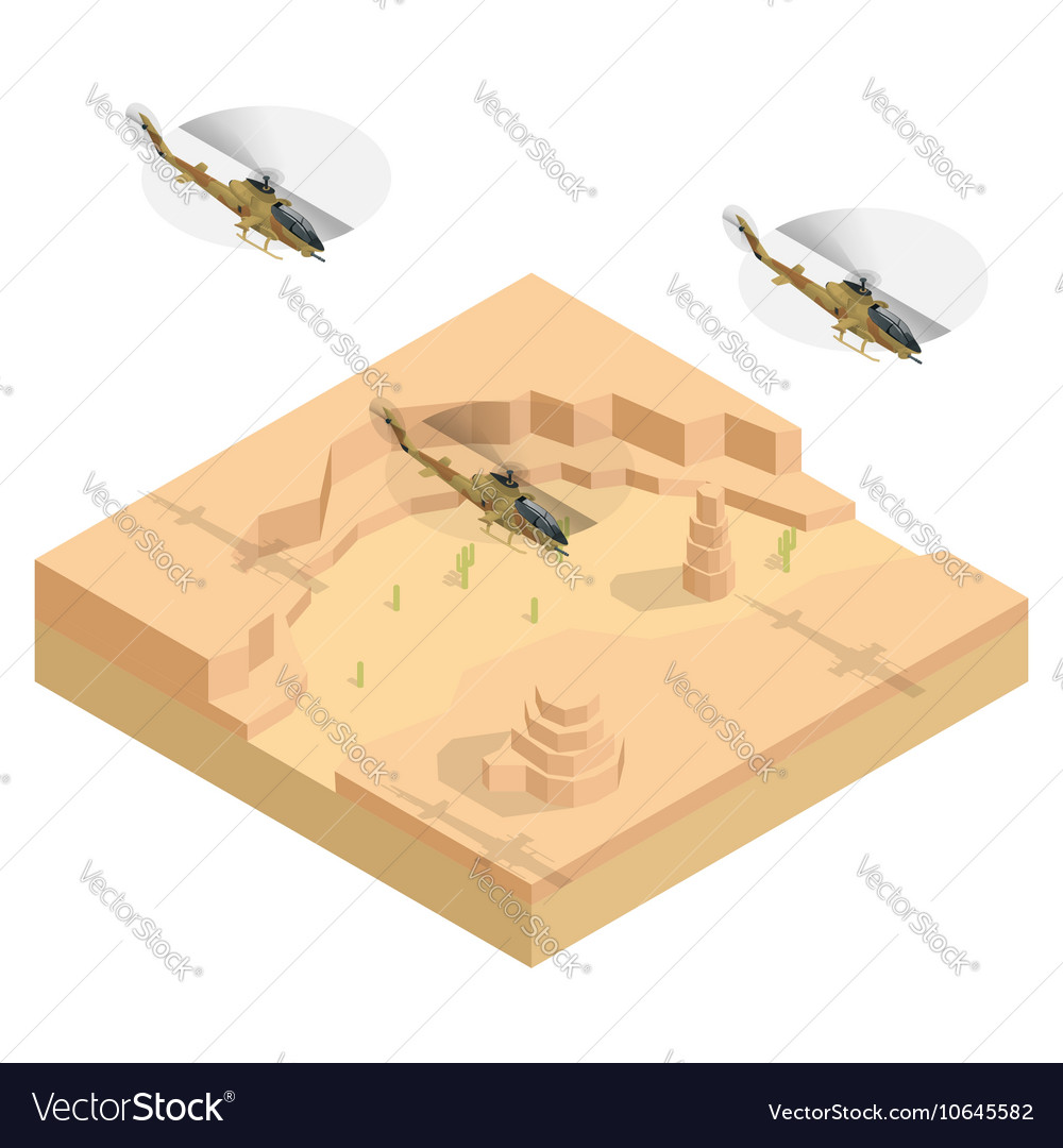 Isometric Military helicopter over the desert