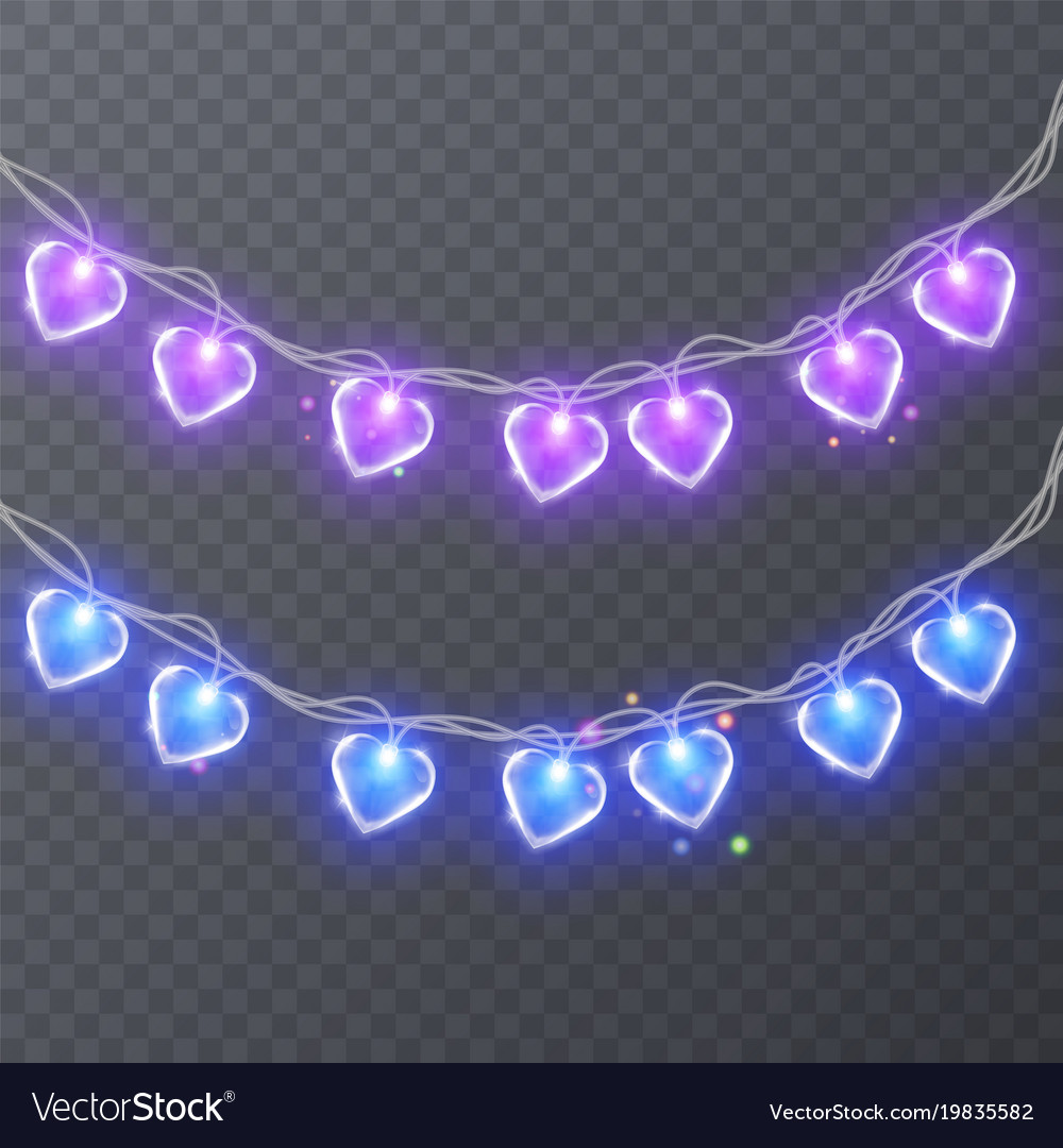 Set of colorful garlands with shape of hearts