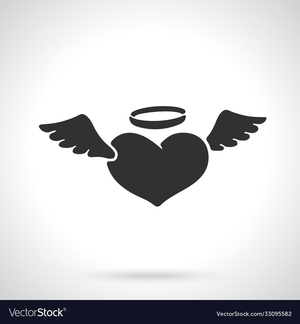 Silhouette angel heart with wings