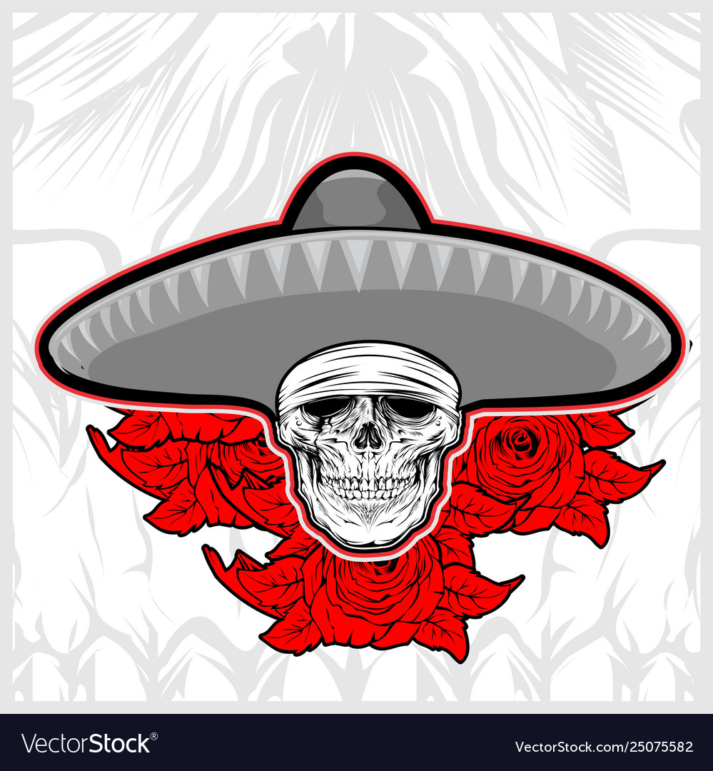 Skull wearing sombrero hat mexico with rose