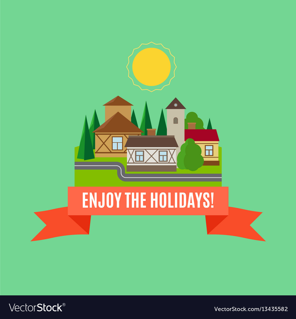 Small town summer landscape card vector image