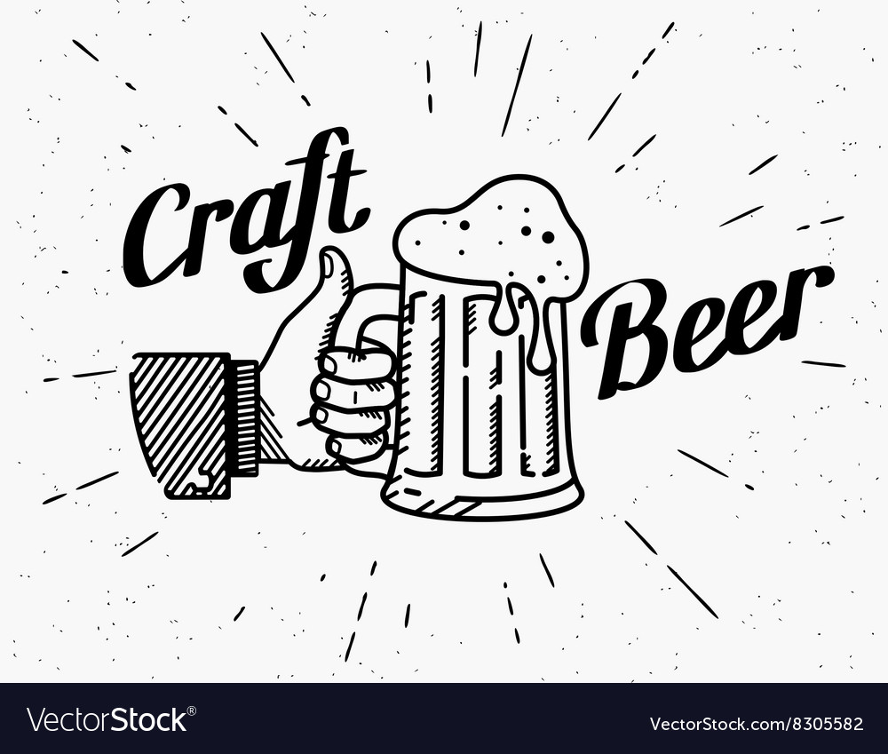Thumbs up symbol icon with craft beer mug vector image
