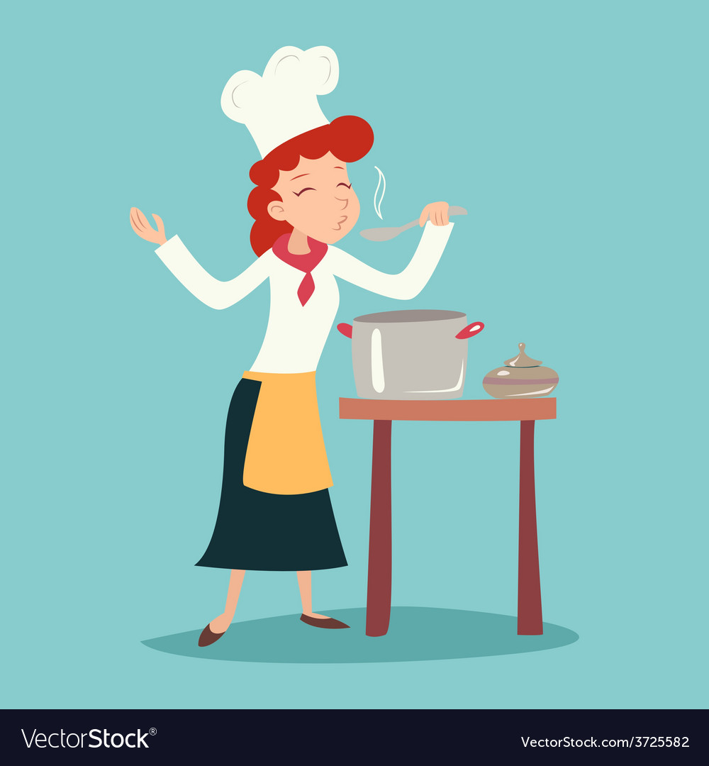 Vintage Happy Smiling Chief Cook Girl Tasting Dish vector image