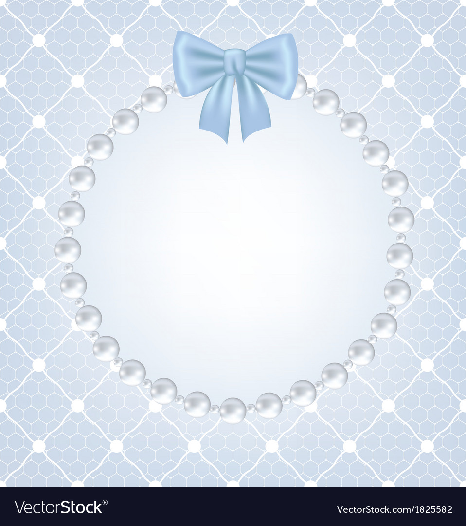 White net lace with bow and pearl frame
