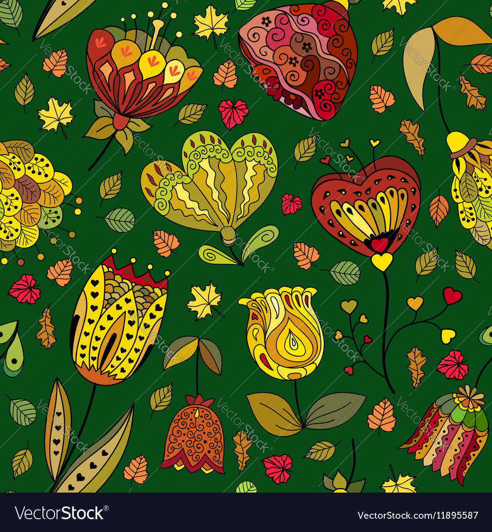 Autumn doodles seamless pattern vector image