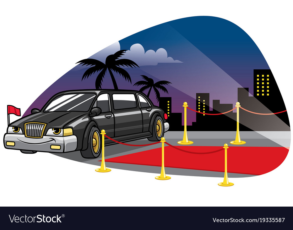 Cartoon limousine car at the red caret