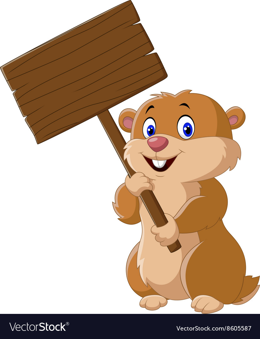 Cute Groundhog holding blank sign