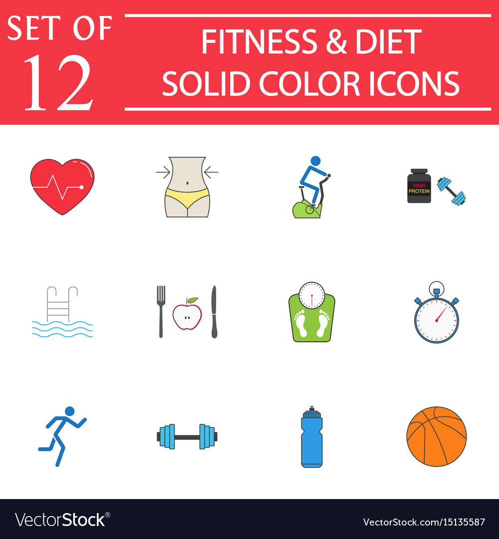 Fitness and diet solid icon set healthy life