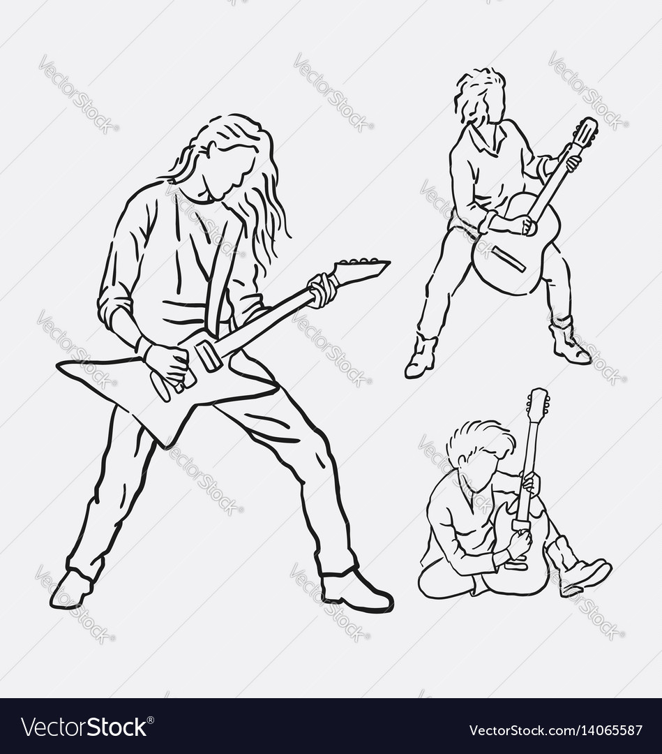 Guitarist musician male action hand drawing