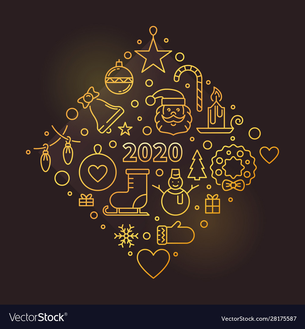 Happy new year 2020 golden outline