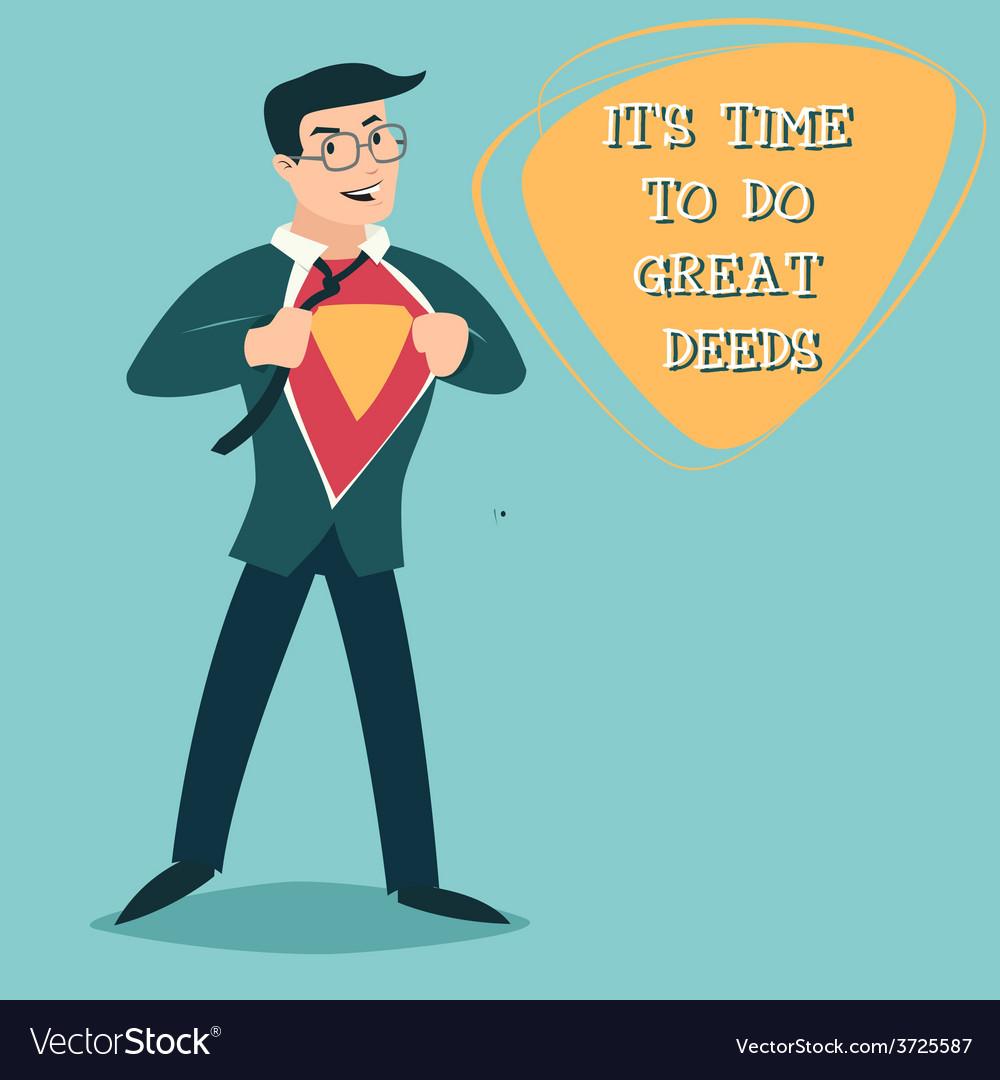 Happy Smiling Businessman Turns in Superhero Suit vector image