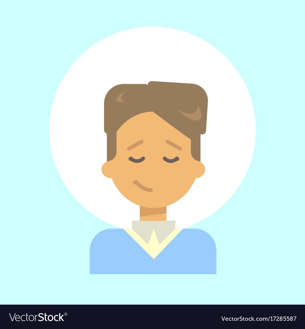 Male closed eyes emotion profile icon man cartoon