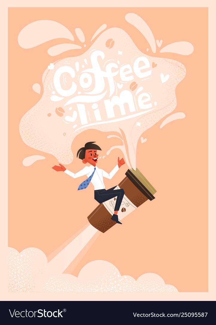 Office employee drinks coffee hand drawn