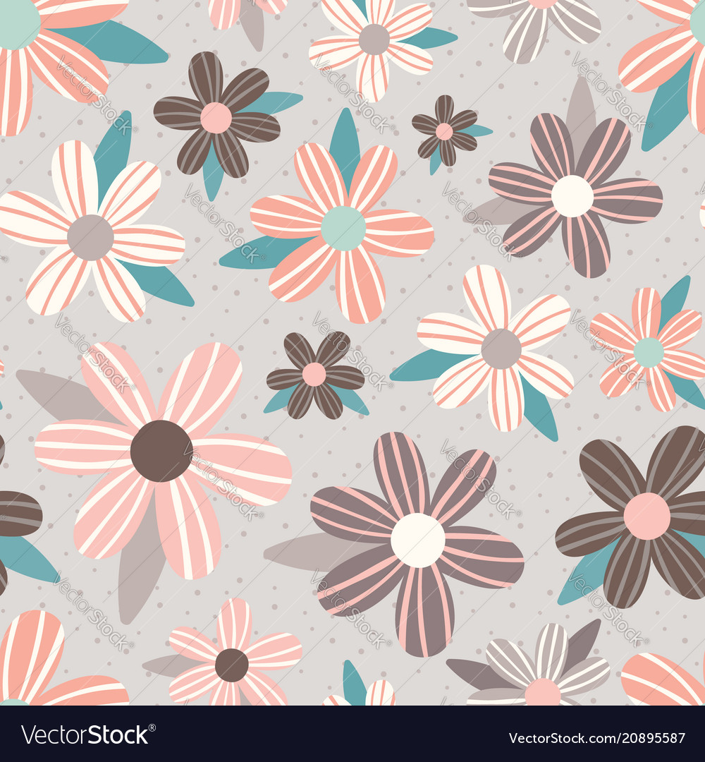 Pink taupe flowers seamless pattern