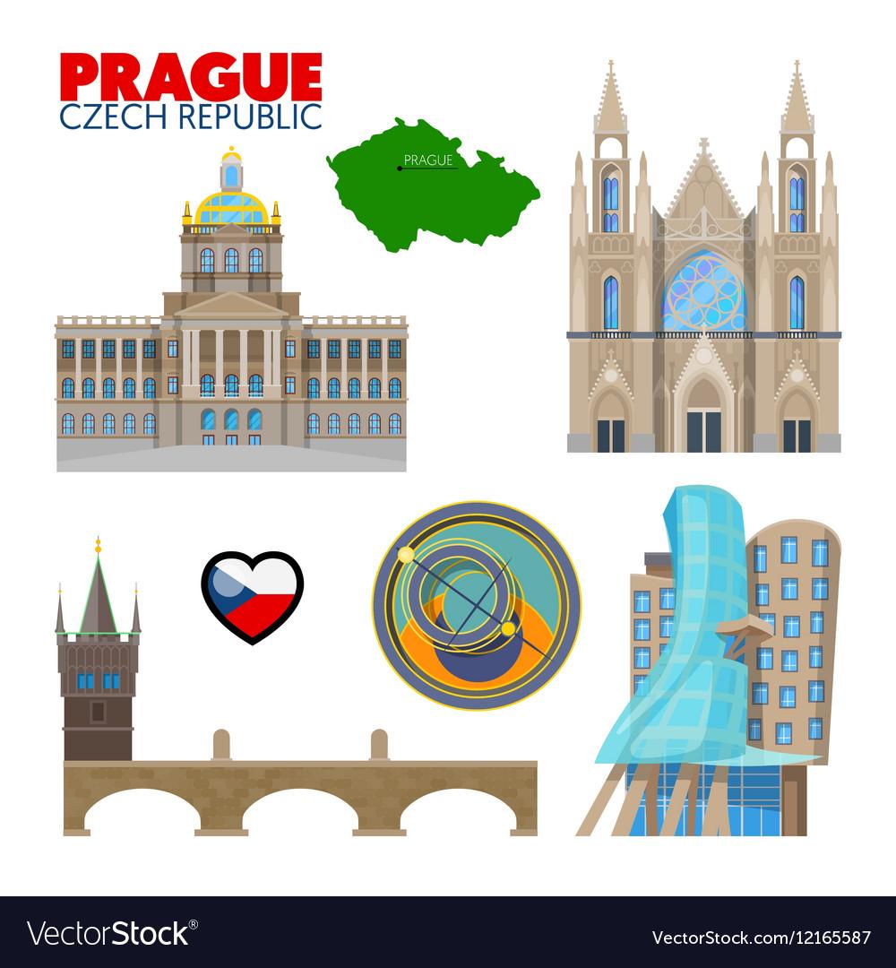 Prague Czech Republic Travel Doodle vector image