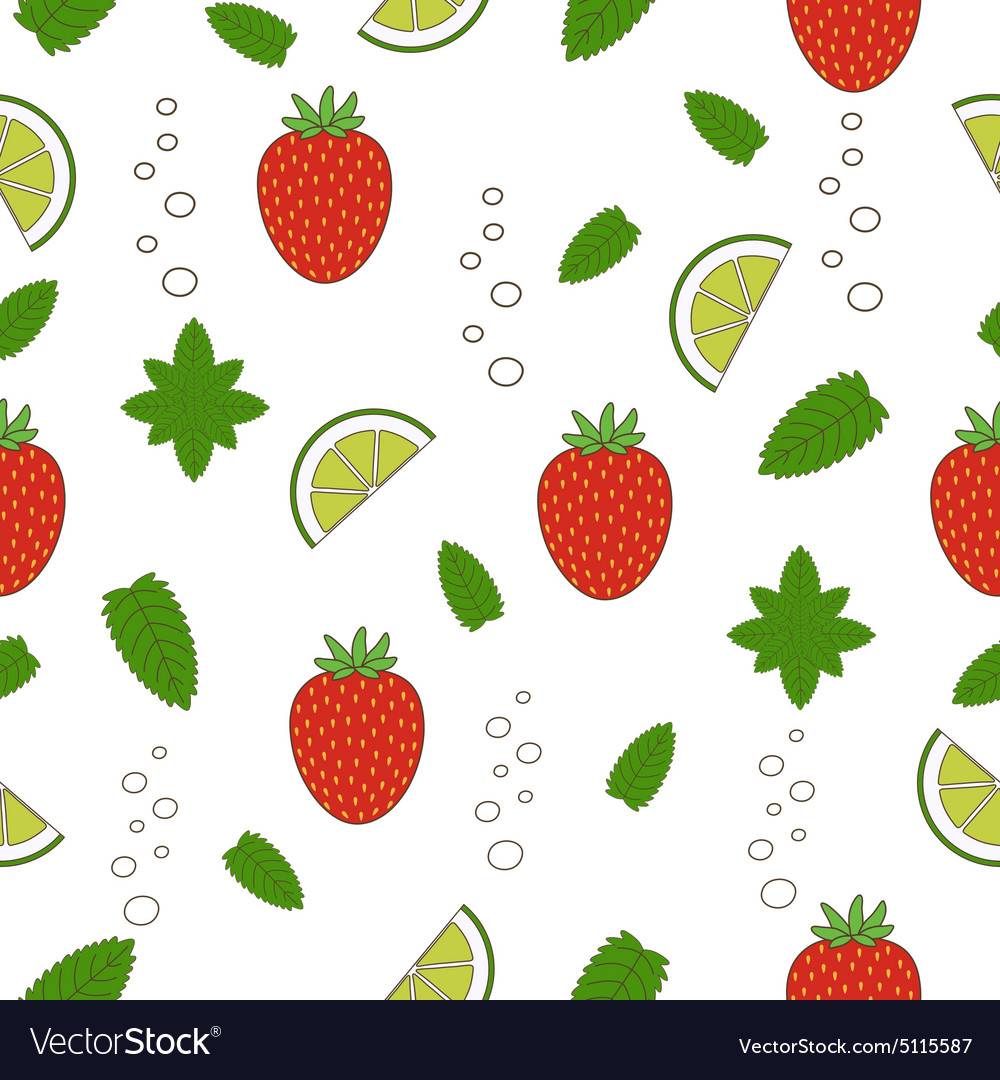 Strawberry mojito seamless pattern vector image