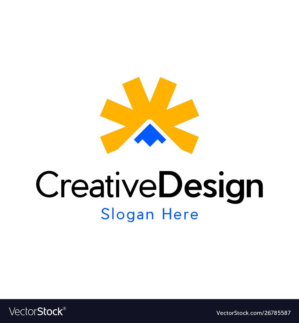 Sun mountain landscaping creative logo vector image
