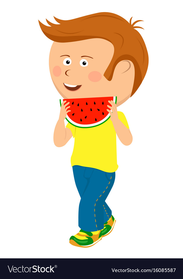 Teenager boy walking with slice of watermelon