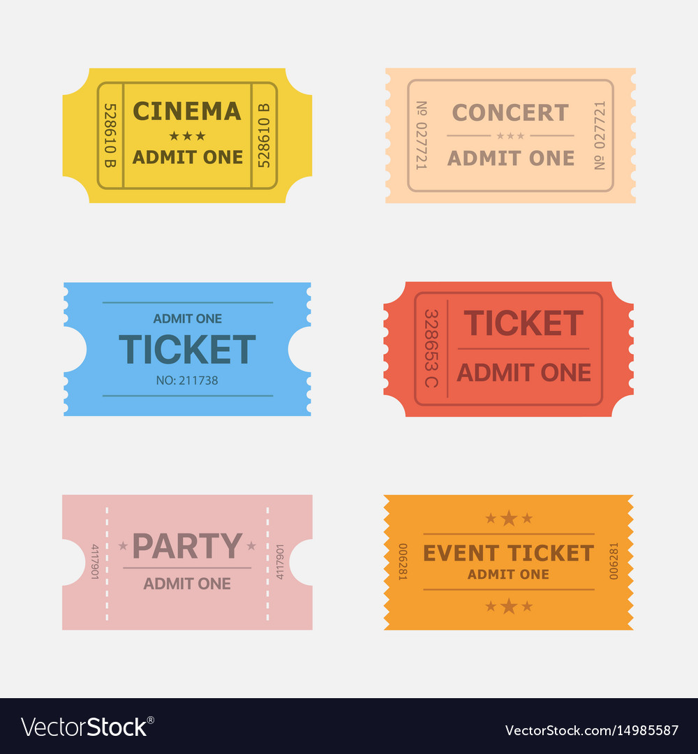 Ticket icons vector image