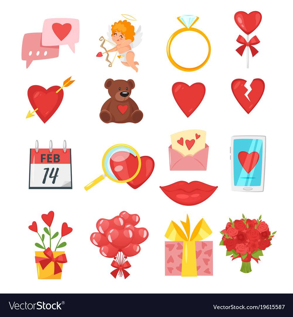 Valentines Day Romantic Symbols Royalty Free Vector Image