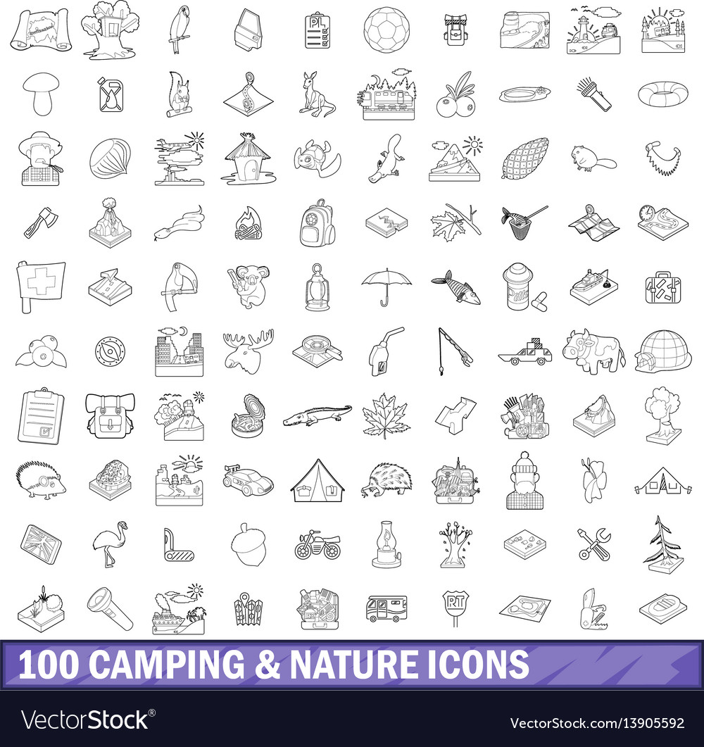 100 camping and nature icons set outline style