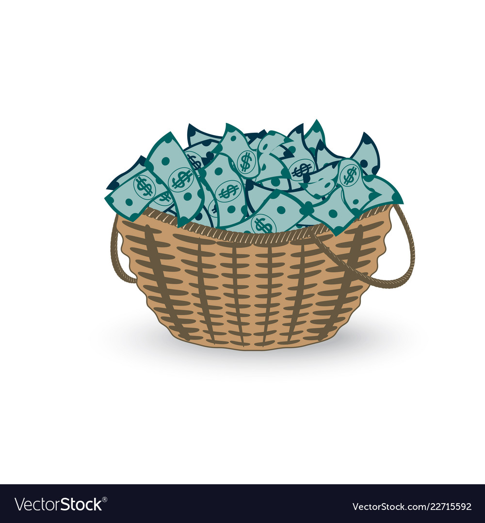 Basket full of money isolated on white