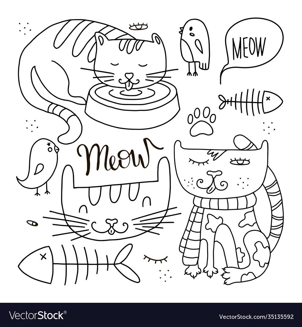 Cats line doodle set 1