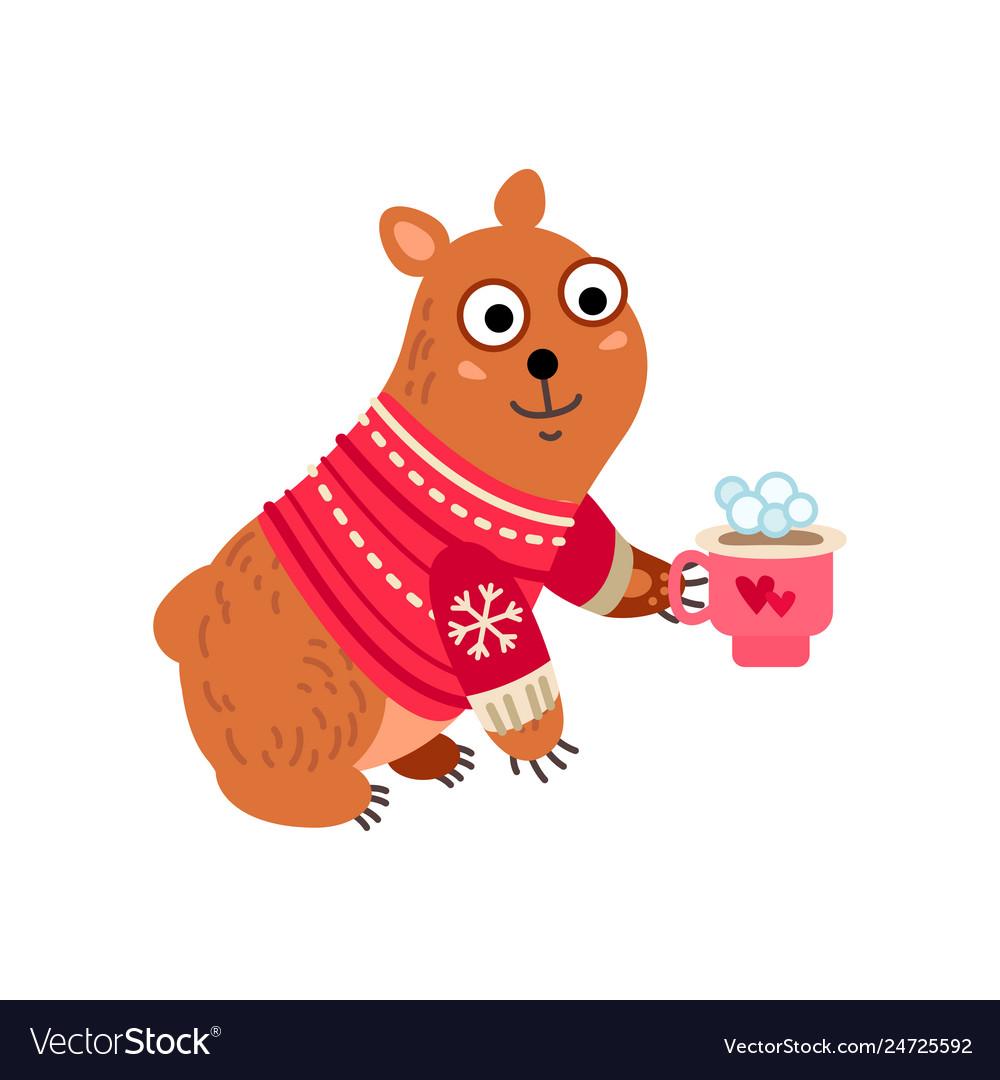 Christmas bear icon santa