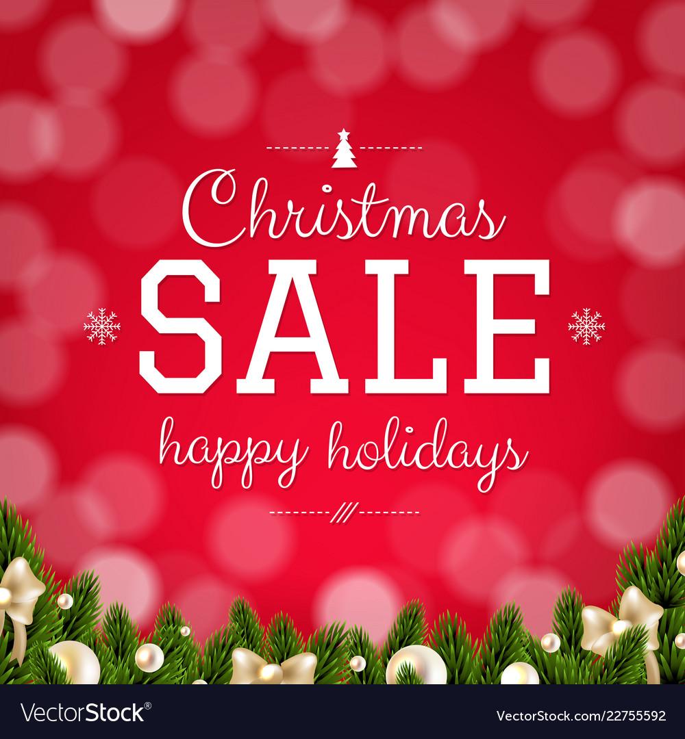 Christmas sale card with bokeh