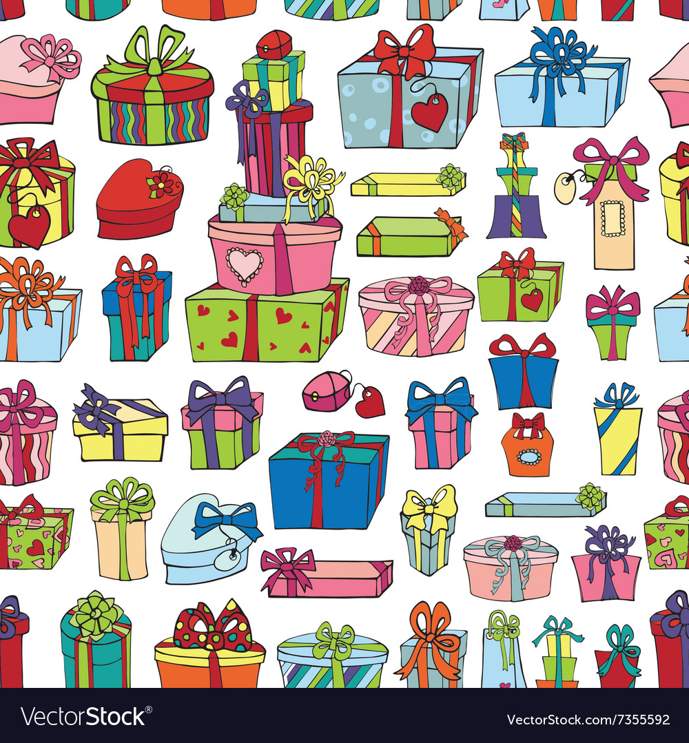 Colored gift boxes seamless patternholiday
