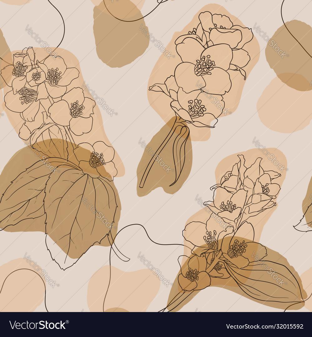 Jasmine flowers and leaves vintage seamless